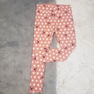 LULAROE Pink White Tall Curvy Minnie Mouse Legging